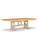 Trestle Table #3121 shown in Sandstone Premium Finish (on Bark) with Light Pine Top La Lune Collection