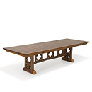 Trestle Table with Optional Medium Cedar Top #3123 shown in Natural Finish (on Bark) La Lune Collection
