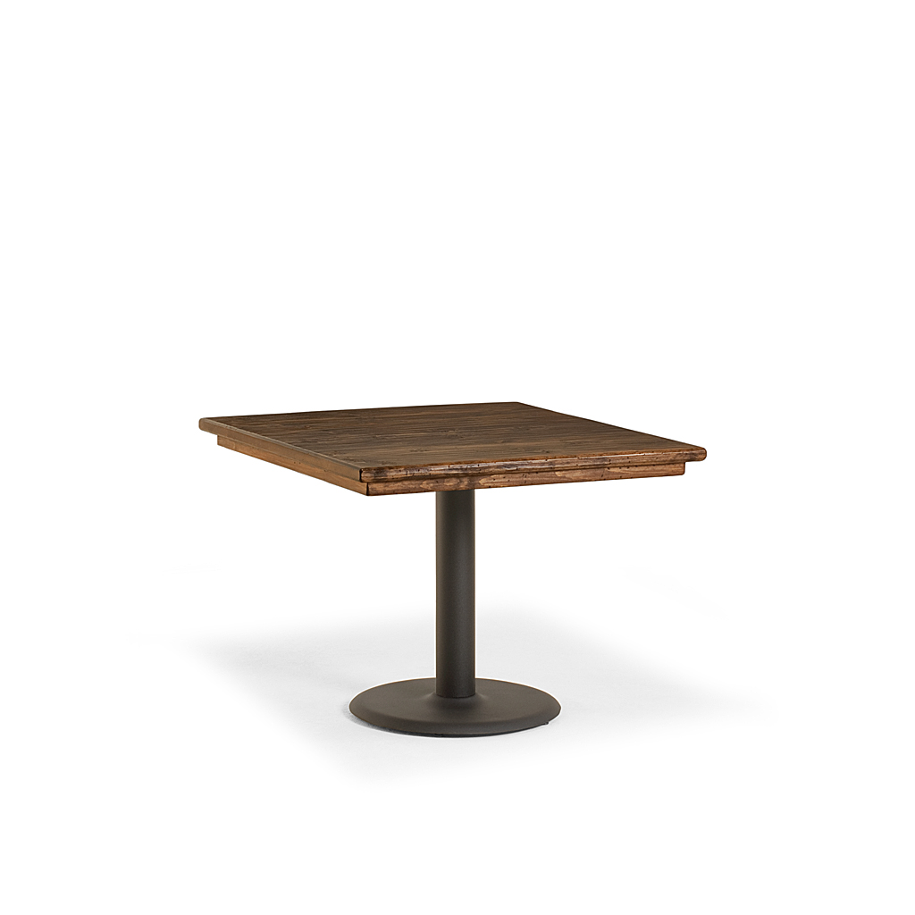 Rustic rectangular or square dining table w metal base - Table base metal ...