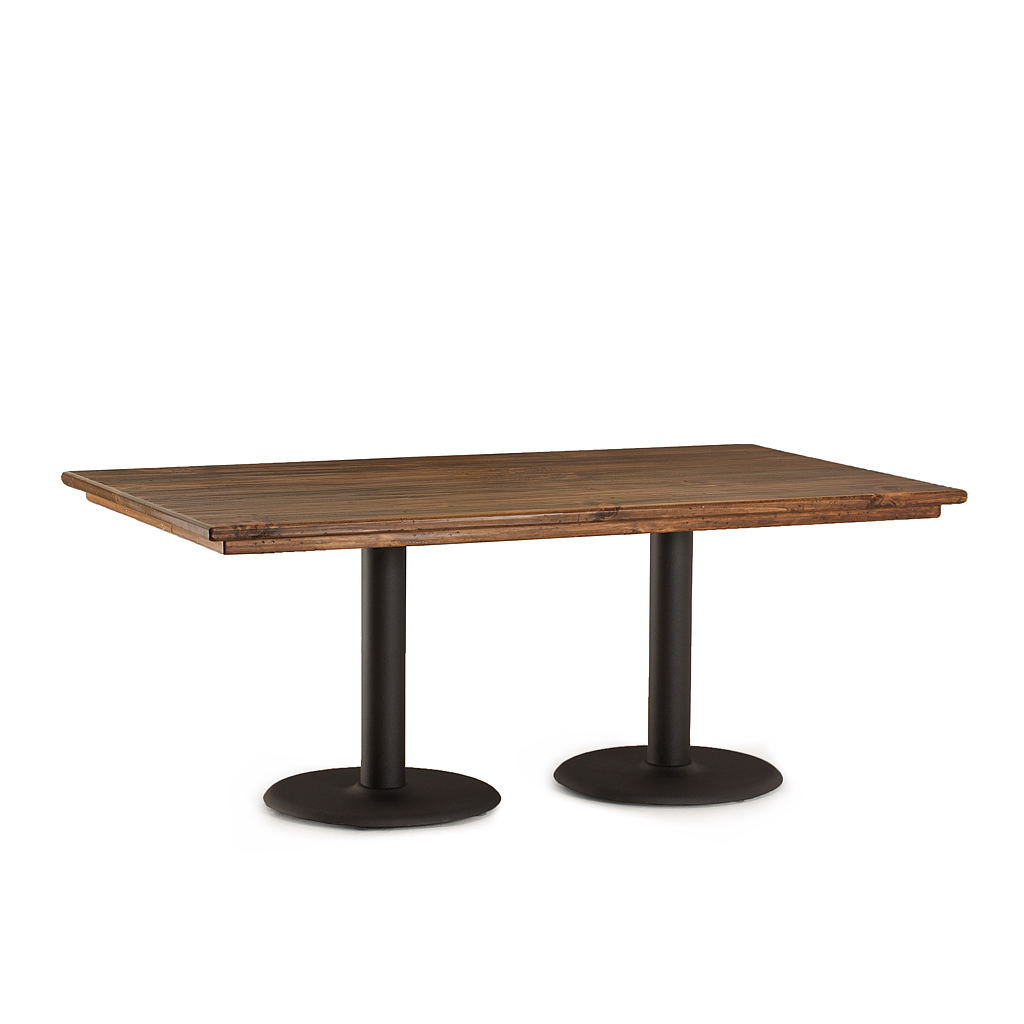 Rustic dining table w metal base la lune collection Metal table base