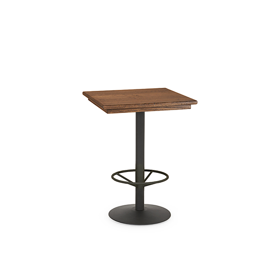 Rustic Bar Table with Metal Base (with Footring) #3178 (Shown with Optional Medium Oak Top)