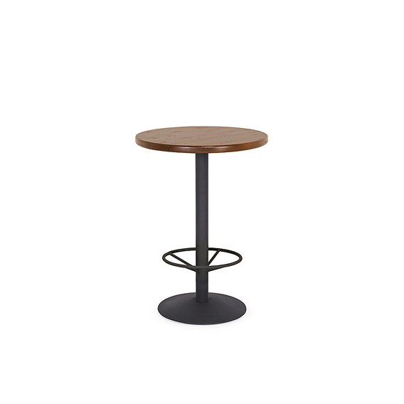 Rustic Bar Table with Metal Base (with Footring) #3182 (Shown with Medium Pine Top)