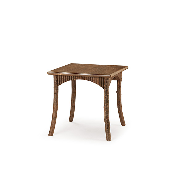 Rustic Dining Table #3183 shown in Natural Finish (on Bark) with Medium Pine Top