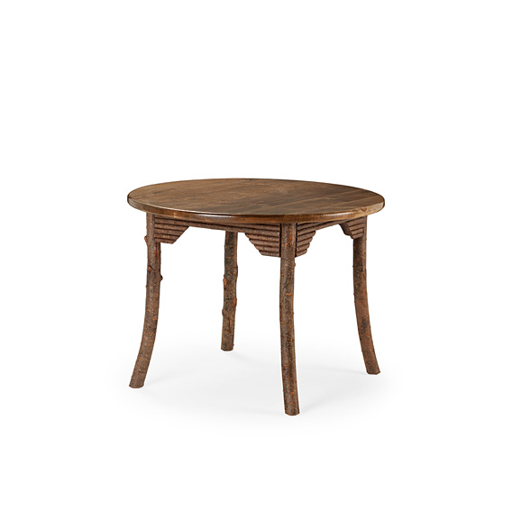 Rustic Dining Table #3187 shown in Natural Finish (on Bark) with Medium Pine Top