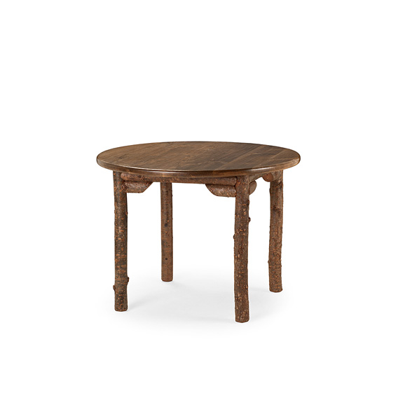 Rustic Dining Table #3188 shown in Natural Finish (on Bark) with Medium Pine Top