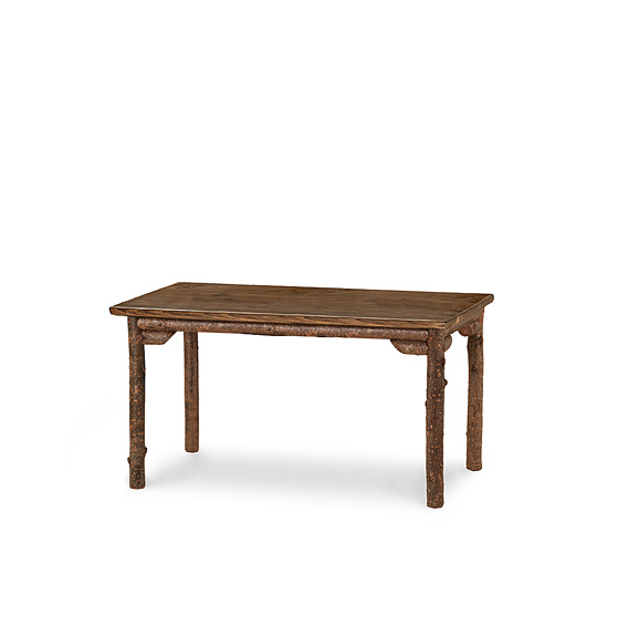 Rustic Dining Table #3191 shown in Natural Finish (on Bark) with Medium Pine Top