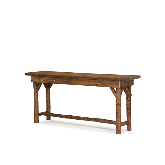 Rustic Console Table #3194 shown in Natural Finish (on Bark) with Medium Pine Top