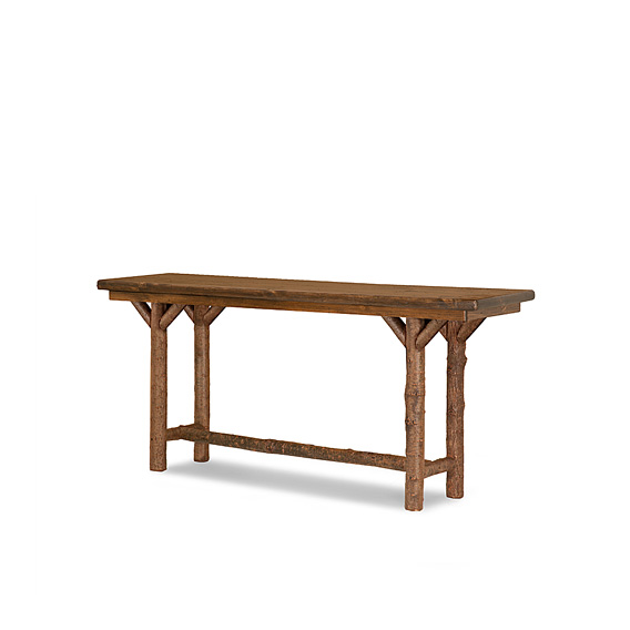 Rustic Console Table with Pine Top #3196 shown in Natural Finish (on Bark) with Medium Pine Top