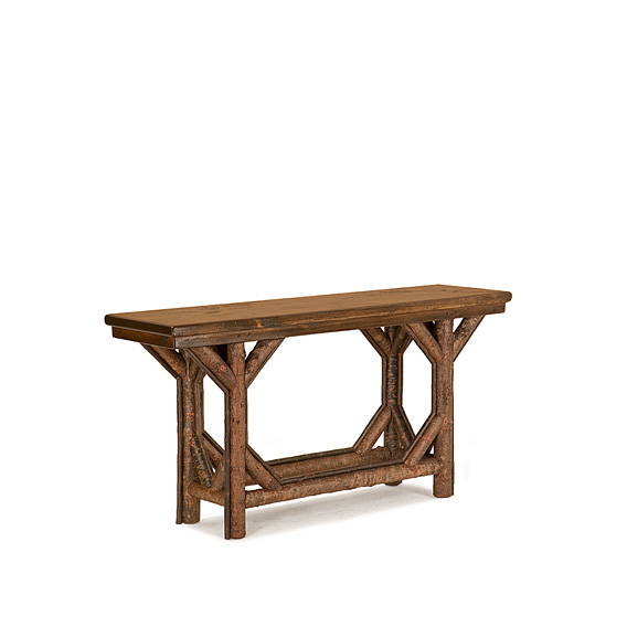 Rustic Console Table #3210 shown in Natural Finish (on Bark) with Medium Pine Top