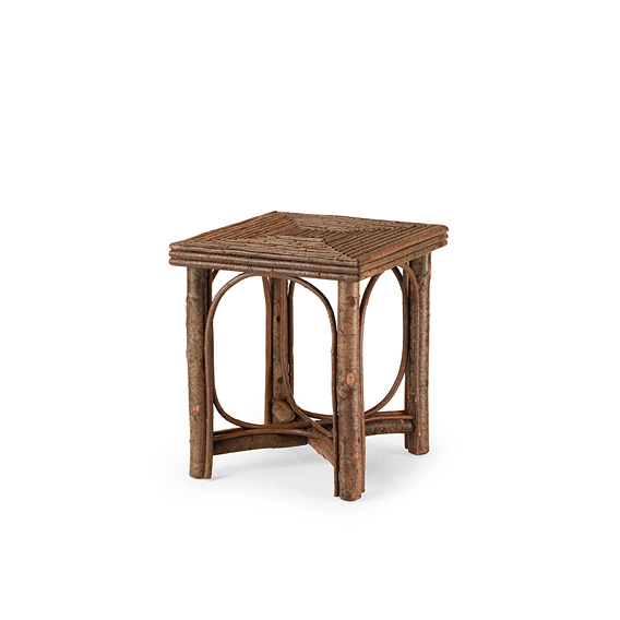 Rustic Side Table with Willow Top #3224 shown in Natural Finish (on Bark)