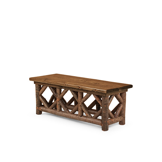 Rustic Coffee Table #3230 shown in Natural Finish (on Bark) with Medium Pine Top