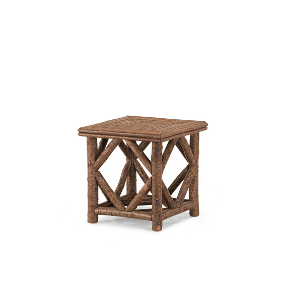 Rustic End Table with Willow Top #3240 shown in Natural Finish (on Bark)