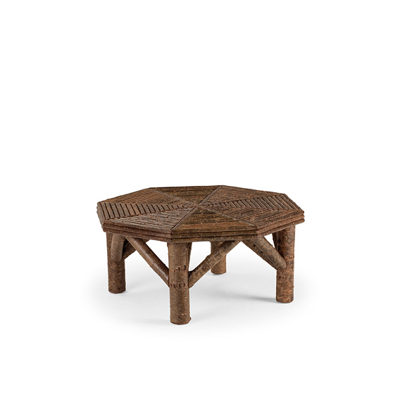 Rustic Coffee Table with Willow Top #3254 shown in Natural Finish (on Bark)