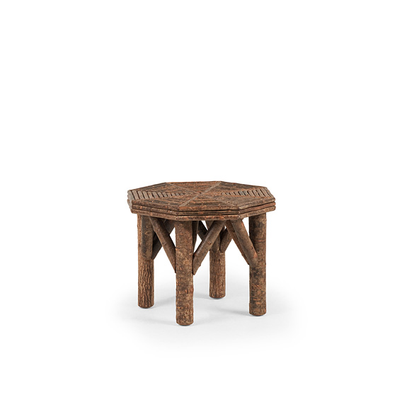 Rustic Side Table with Willow Top #3270 shown in Natural finish (on Bark)