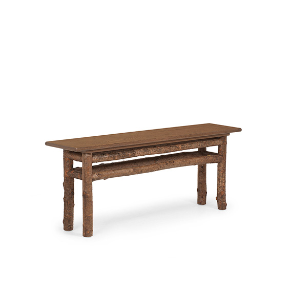 Rustic Console Table #3284 with Optional Medium Oak Top shown in Natural Finish (on Bark)