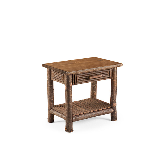 Rustic Side Table #3287 shown in Natural Finish (on Bark) with Medium Pine Top