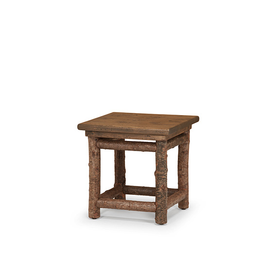 Rustic End Table #3296 shown in Natural Finish (on Bark) with Medium Pine Top