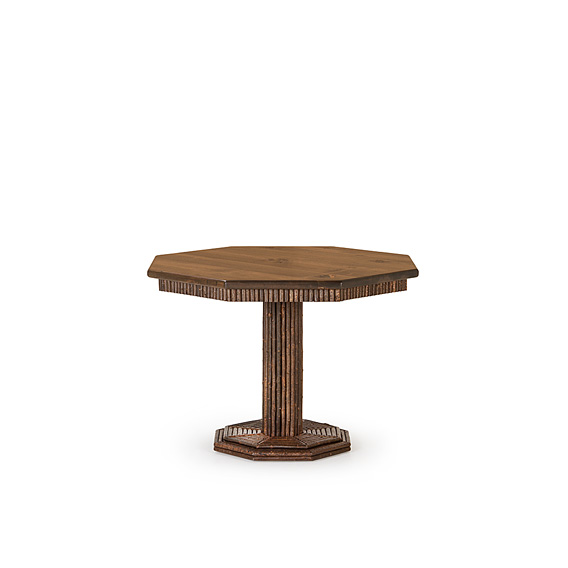 Rustic Table #3340 shown in Natural Finish (on Bark) with Medium Pine Top