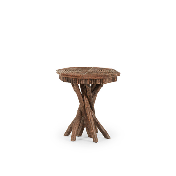 Rustic Side Table with Willow Top #3410 shown in Natural Finish (on Bark)