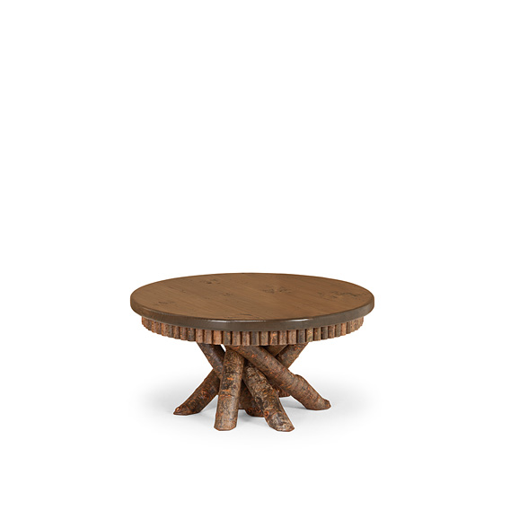 Rustic Coffee Table #3417 shown in Natural Finish (on Bark) with Medium Pine Top