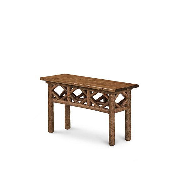 Rustic Console Table with Pine Top #3427 shown in Natural Finish (on Bark) with Medium Pine Top