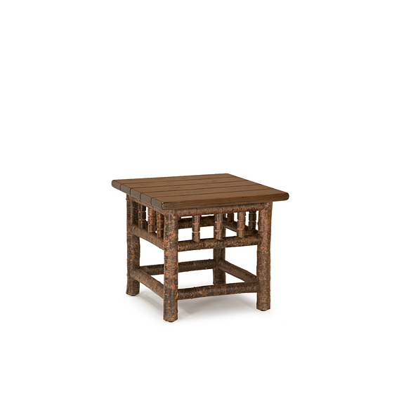 Rustic End Table #3450 with Optional Medium Cedar Plank Top shown in Natural Finish (on Bark)