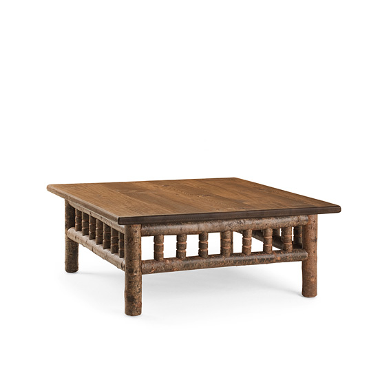 Rustic Coffee Table #3462 shown in Natural Finish (on Bark) with Medium Pine Top