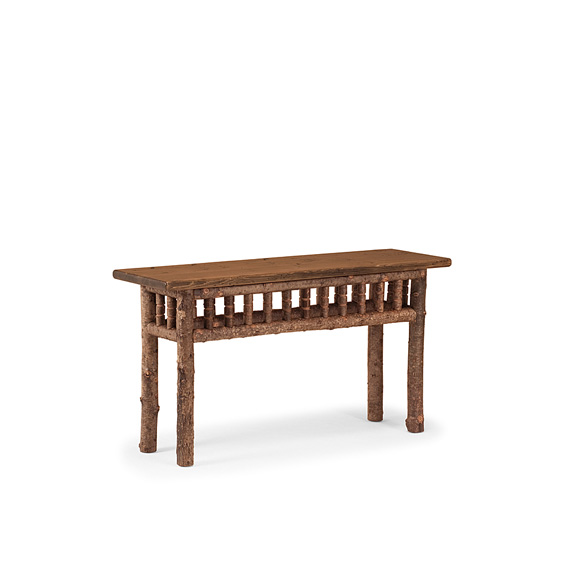 Rustic Console Table #3472 shown in Natural Finish (on Bark) with Medium Pine Top