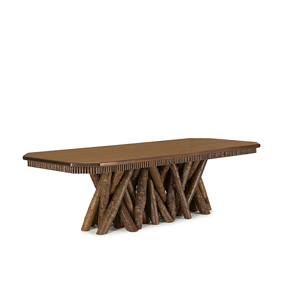 Rustic Dining Table #3482 (shown in Natural Finish on Bark with Medium Pine Top)