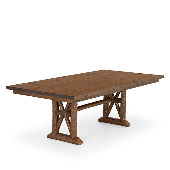 Rustic Dining Table #3492 shown in Natural Finish (on Bark) with Medium Pine Top