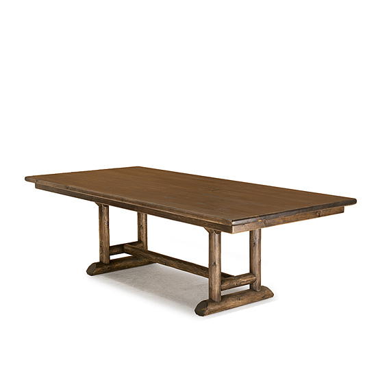 Rustic Dining Table #3508 (shown in Kahlua Finish on Peeled Bark with Medium Pine Top)