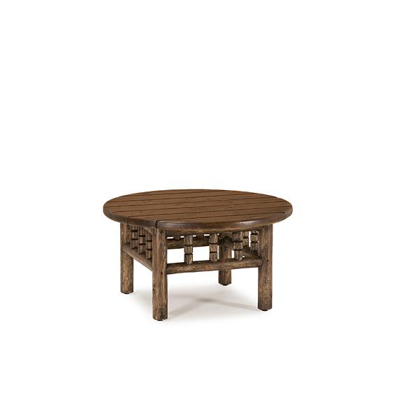 Rustic Coffee Table #3534 with Optional Medium Cedar Plank Top shown in Kahlua Finish (on Peeled Bark)