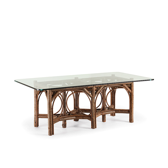 Rustic Dining Table Base Only #3016 Glass Top not included, shown in Natural Finish (on Bark)