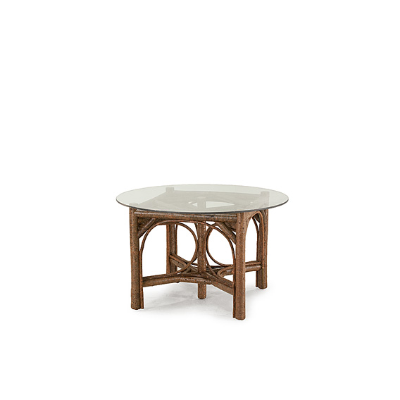 Rustic Dining Table Base Only #3022 Glass Top not included, shown in Natural Finish (on Bark)