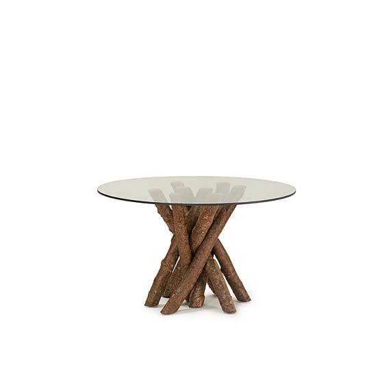Rustic Dining Table Base Only #3095 Glass Top not included, shown in Natural Finish (on Bark)