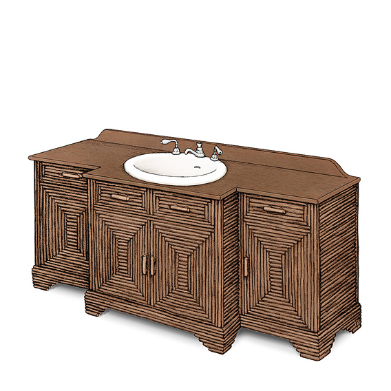 Rustic Vanity #2178 shown in Natural Finish (on Bark) with Medium Pine Top