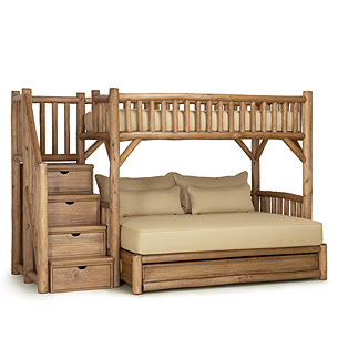 Rustic Bunk Bed with Trundle and Stairs