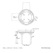Custom 3033 table shop drawing