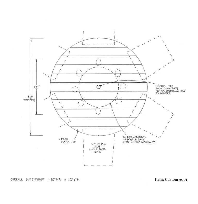Custom 3091 Table Shop Drawing 1