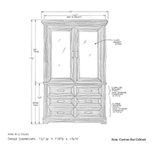 Custom bar cabinet shop drawing 1