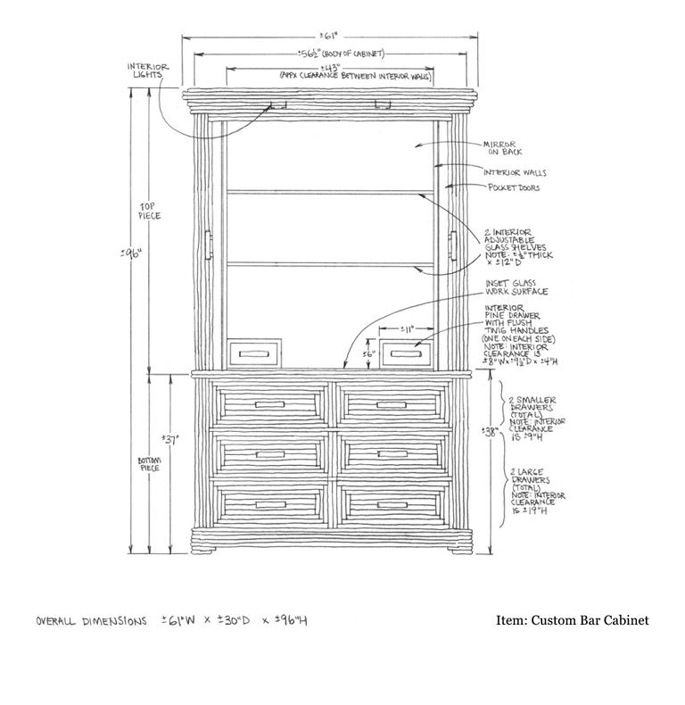 ... Custom Bar Cabinet Shop Drawing 2 ...