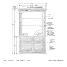 Custom bar cabinet shop drawing 2