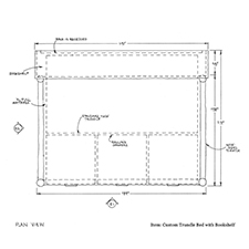 Custom Trundle Bed with Bookcase shop drawing 1