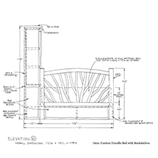 Custom Bed with Bookcase shop drawing 3