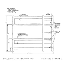Custom Upholstered Bunk Bed A shop drawing 1