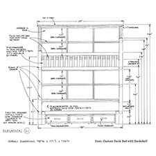 Custom Bunk Bed with Bookshelf shop drawing 2