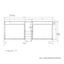 Custom Bunk Bed with Stairs shop drawing 1