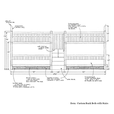 Custom Bunk Bed with Stairs shop drawing 2