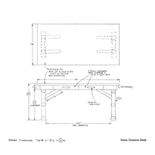 Custom desk shop drawing 1
