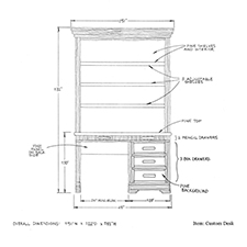 Custom desk with shelves shop drawing 1